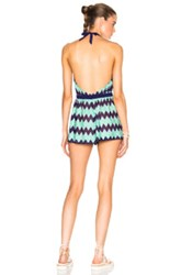 Missoni Mare Backless Romper In Green Stripes Green Stripes