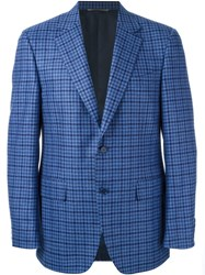 Canali Classic Fit Checked Blazer Blue
