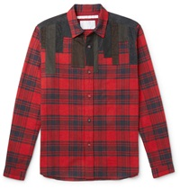 White Mountaineering Patchwork Panelled Plaid Brushed Cotton Flannel Shirt Red