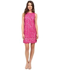 Adrianna Papell Lace Shift With Ladder Trim Details Hot Pink Women's Dress