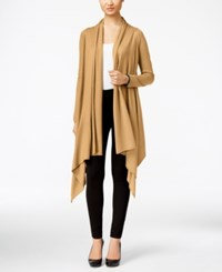 Cable And Gauge Multi Wrap Open Front Cardigan Camel Hair