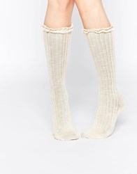 Abs By Allen Schwartz Knee High Socks In Crochet Lace Ivory