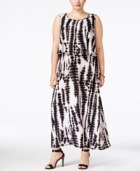 Ny Collection Plus Size Tie Dyed Popover Maxi Dress Black White