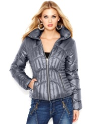 Guess Quilted Down Puffer Jacket Steel