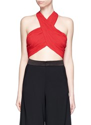 Alice Olivia 'Tracee' Drape Georgette Cropped Halter Top Red