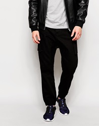 Asos Drop Crotch Trousers In Cargo With Cuffed Hem Black