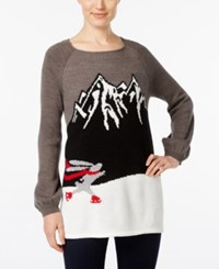 Styleandco. Style Co. Skating Bunny Graphic Sweater Only At Macy's Grey Combo