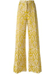 Erika Cavallini Jacquard Palazzo Pants Yellow And Orange