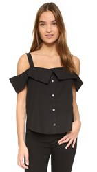 Clu Off Shoulder Button Down Top Black