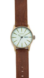 Nixon The Sentry Leather Watch Brass Green Brown