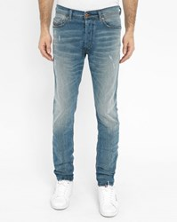 Diesel Faded Light Blue Thepphar Slim Fit Jeans