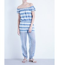 Lemlem Freya Off The Shoulder Cotton Blend Jumpsuit Blue