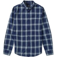 A.P.C. Button Down Checked Shirt Blue