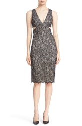 Alice Olivia Women's 'Riki' Side Cutout Lace Body Con Dress Black Bone