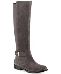 Tommy Hilfiger Suprem Riding Boots Women's Shoes Grey Suede