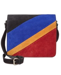 Patricia Nash Suede Colorblock Luca Crossbody Dj Bag Black Multi