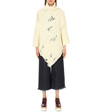Miharayasuhiro Distressed Cable Knit Poncho White
