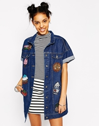 Kuccia Short Sleeve Longline Denim Jacket With Kawaii Logo Sequin Patches Blue