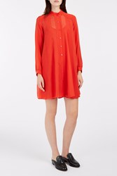 Paul And Joe Chiffon Shirt Dress Red