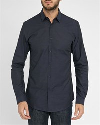 Ikks Navy Slim Fit Micro Dots Detail Shirt With Navy Collar