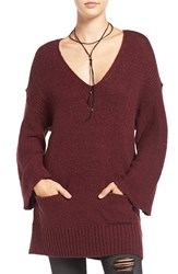 Sun And Shadow Women's Knit Bell Sleeve Tunic Burgundy Stem