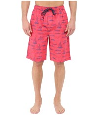 Tommy Bahama Island Washed Cotton Woven Jam Shorts Sail Away Red Print Men's Pajama Pink