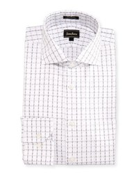 Neiman Marcus Classic Fit Regular Finish Check Dress Shirt White Grey