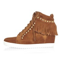 River Island Womens Tan Suede Fringed High Top Wedge Trainers