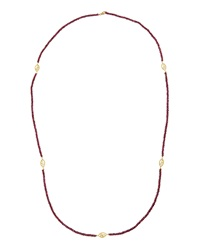 Jude Frances Garnet Beaded Logo Station Necklace