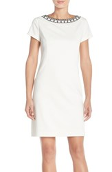 Women's Ellen Tracy Beaded Neck Ponte Sheath Dress