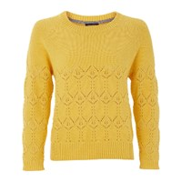 Lowie Mustard Yellow Organic Cotton Lace And Moss Stitch Jumper