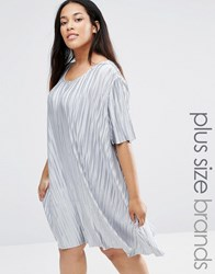 Alice And You Plisse T Shirt Swing Dress Silver