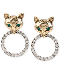 Betsey Johnson Gold Tone Fox Crystal Ring Earrings Two Tone