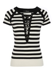 Jane Norman Striped Lace Up Short Sleeve Top Black White