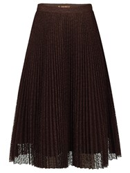 Jolie Moi Pleated Lace A Line Skirt Brown