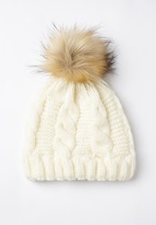 Missguided Cream Cable Knit Pom Pom Beanie