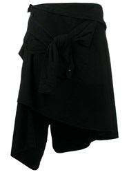 Faith Connexion Asymmetric Tied Skirt Black