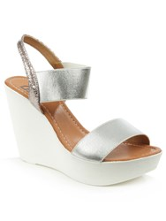 Daniel Kefalonia Two Bar Stretch Wedge Sandals Silver Metallic