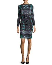 Nicole Miller Quinn Force Field Sheath Dress With Ruching Green Multi