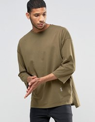 Religion 3 4 Sleeve Crew Neck Top With Drop Shoulder Detail Modern Khaki Green