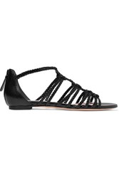 Alexander Mcqueen Braided Leather Sandals Black