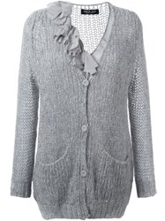 Twin Set Ruffled Detail Cardigan Grey