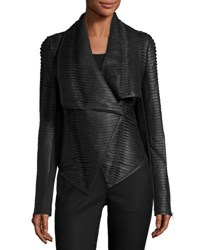 P. Luca Faux Leather Striped Drape Front Jacket Black