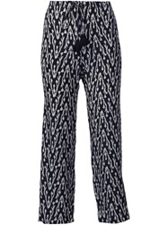 Figue 'Zamba' Ikat Print Cropped Trousers Black