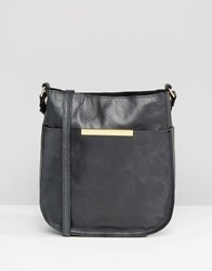 Asos Curved Vintage Leather Cross Body Bag Black