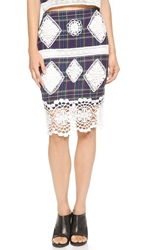 Endless Rose Plaid And Lace Skirt Multi