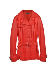 Forzieri Red Leather Trench Coat