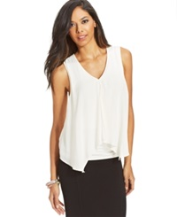 Bar Iii Sleeveless Tiered Top Washed White