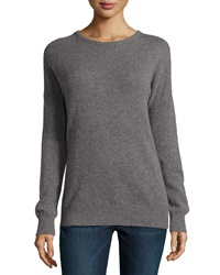 Minnie Rose Cashmere Crewneck Dolman Pullover Sweater Gray