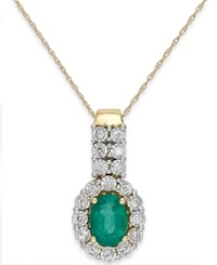 Macy's Emerald 1 Ct. T.W. And Diamond 1 4 Ct. T.W. Pendant Necklace In 14K Gold Yellow Gold